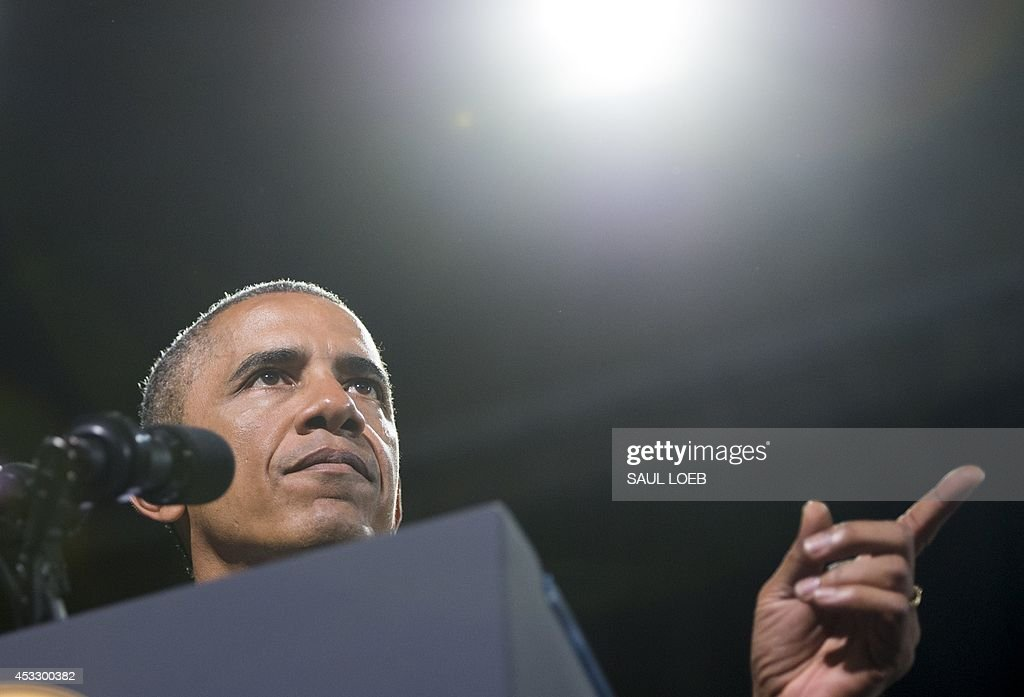 US President <a gi-track='captionPersonalityLinkClicked' href=/galleries/search?phrase=Barack+Obama&family=editorial&specificpeople=203260 ng-click='$event.stopPropagation()'>Barack Obama</a> speaks prior to signing the Veterans Access to Care through Choice, Accountability, and Transparency Act of 2014, during a signing ceremony at Fort Belvoir in Virginia, August 7, 2014. The bill provides the Department of Veterans Affairs the resources to improve access and quality of care for veterans. AFP PHOTO / Saul LOEB