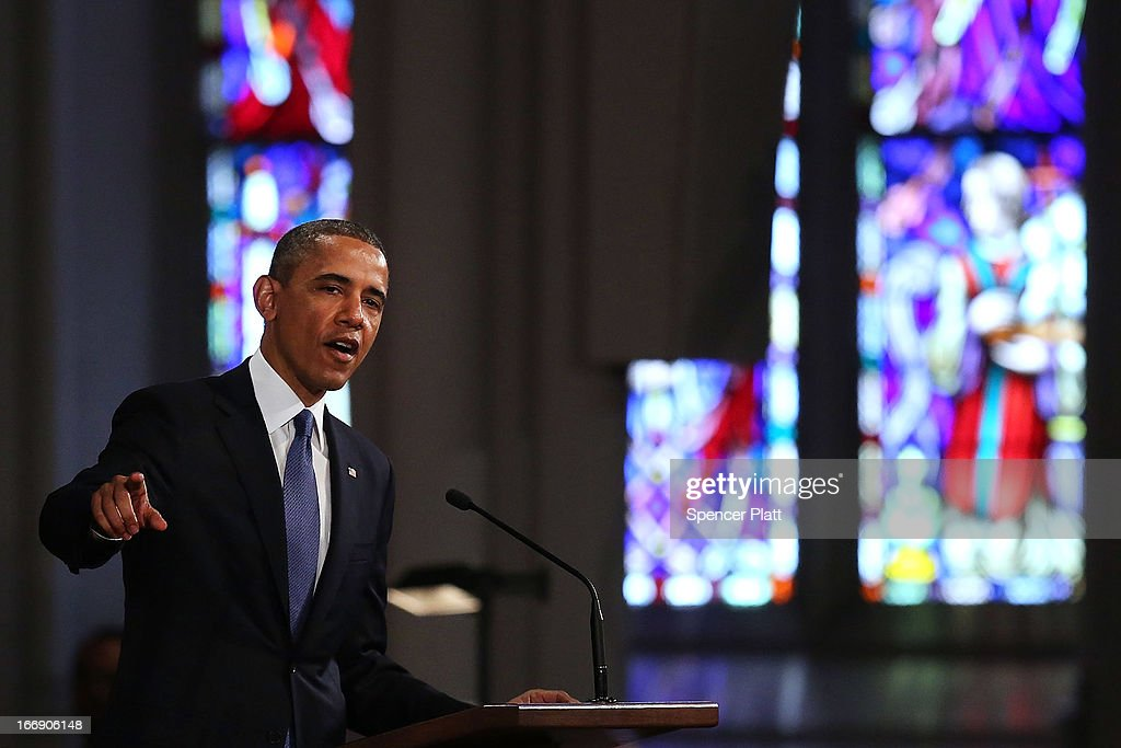 President <a gi-track='captionPersonalityLinkClicked' href=/galleries/search?phrase=Barack+Obama&family=editorial&specificpeople=203260 ng-click='$event.stopPropagation()'>Barack Obama</a> speaks st an interfaith prayer service for victims of the Boston Marathon attack titled 'Healing Our City,' at the Cathedral of the Holy Cross on April 18, 2013 in Boston, Massachusetts. Authorities investigating the attack on the Boston Marathon have shifted their focus to locating the person who placed a black bag down and walked away just before the bombs went off. The twin bombings at the 116-year-old Boston race, which occurred near the marathon finish line, resulted in the deaths of three people and more than 170 others injured.