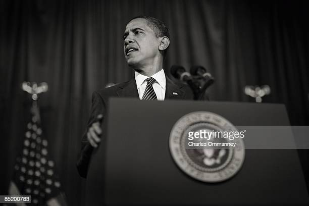 President Barack Obama speaks to a crowd at Dobson High School on February 18 2009 in Mesa Arizona Obama spoke about his $75 billion mortgage relief...