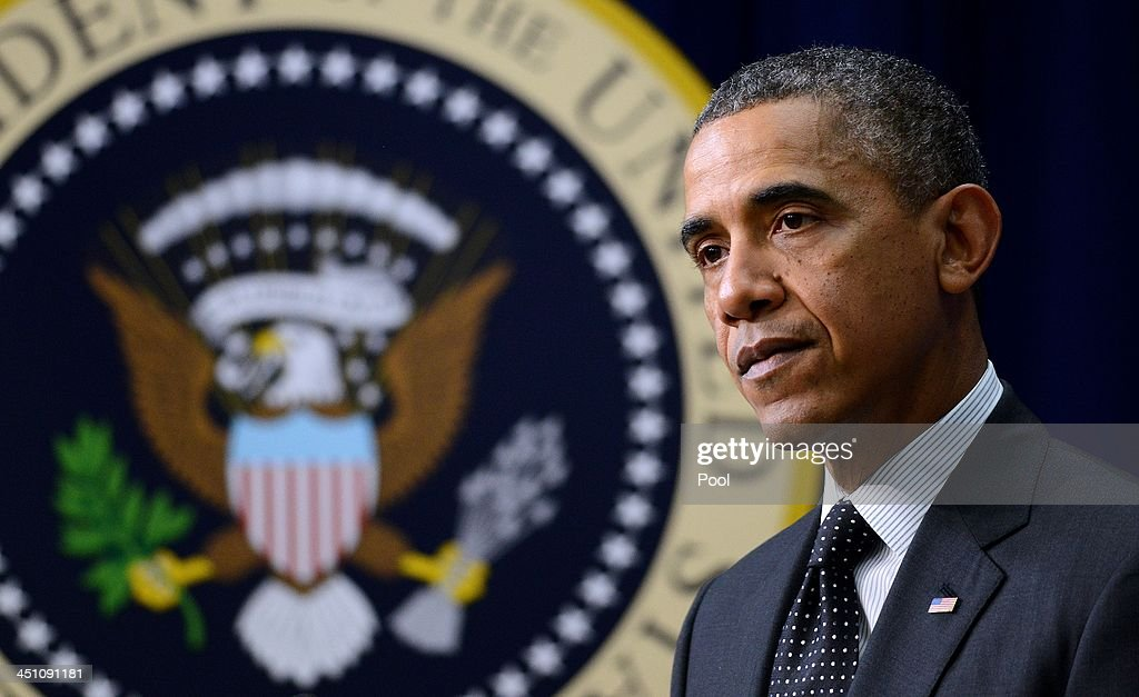 President <a gi-track='captionPersonalityLinkClicked' href=/galleries/search?phrase=Barack+Obama&family=editorial&specificpeople=203260 ng-click='$event.stopPropagation()'>Barack Obama</a> speaks to a group of educators in the South Court Auditorium of the White House November 21, 2013 in Washington, DC. They were being honored as ConnectED Champions of Change for taking creative approaches in using technology to enhance learning for students in communities across the country.