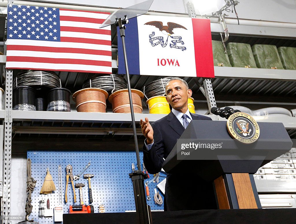S President Barack Obama speaks to a packed room at Cedar Falls Utilities on January 14 2015 in Cedar Falls Iowa Obama spoke of plans to increase...
