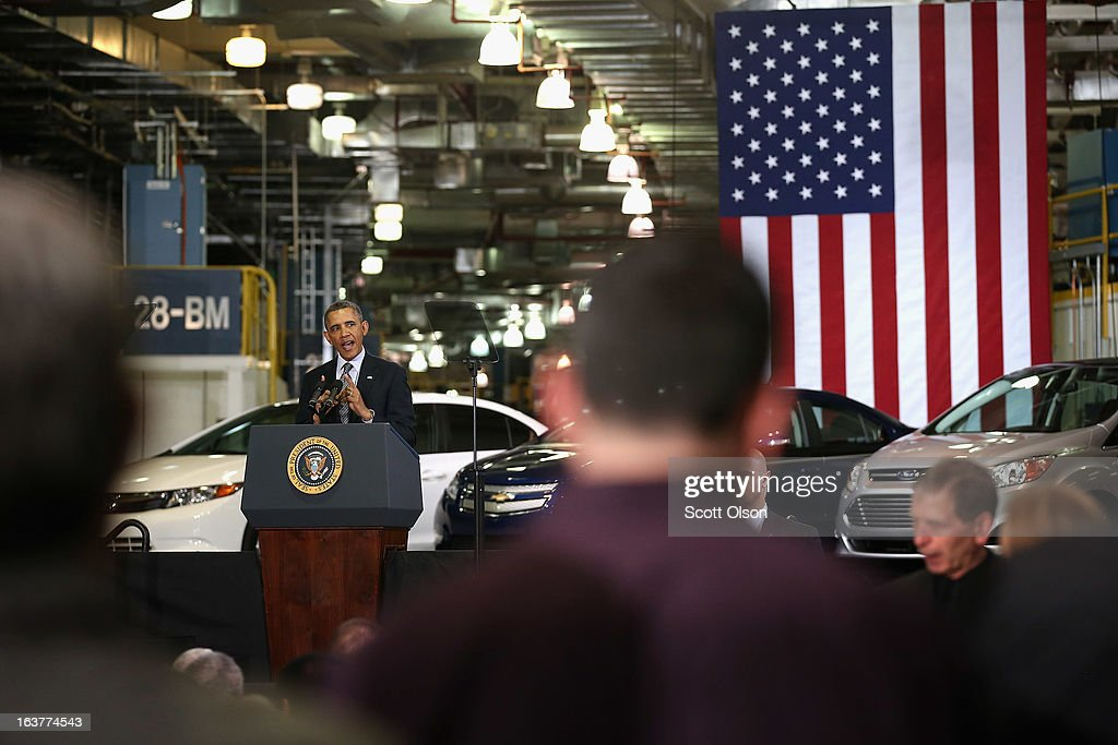 President <a gi-track='captionPersonalityLinkClicked' href=/galleries/search?phrase=Barack+Obama&family=editorial&specificpeople=203260 ng-click='$event.stopPropagation()'>Barack Obama</a> speaks to guests during a visit to Argonne National Laboratory on March 15, 2013 in Argonne, Illinois. Obama used the event to push for more federally funded research into clean energy technologies. Argonne is the current home of a $120 million federal project to develop smaller, cheaper and more powerful batteries for electric vehicles.