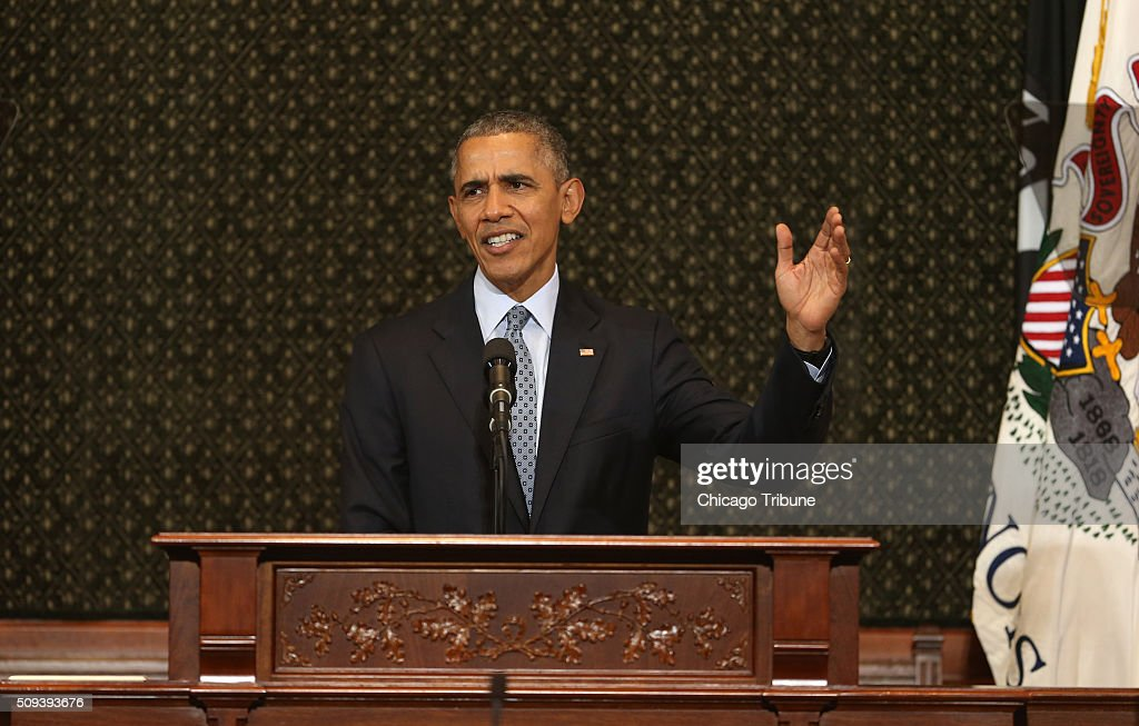 President Barack Obama speaks to Illinois lawmakers in the House chamber of the State Capitol in Springfield, Ill., on Wednesday, Feb. 10, 2016.