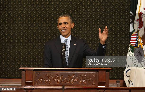 President Barack Obama speaks to Illinois lawmakers in the House chamber of the State Capitol in Springfield Ill on Wednesday Feb 10 2016