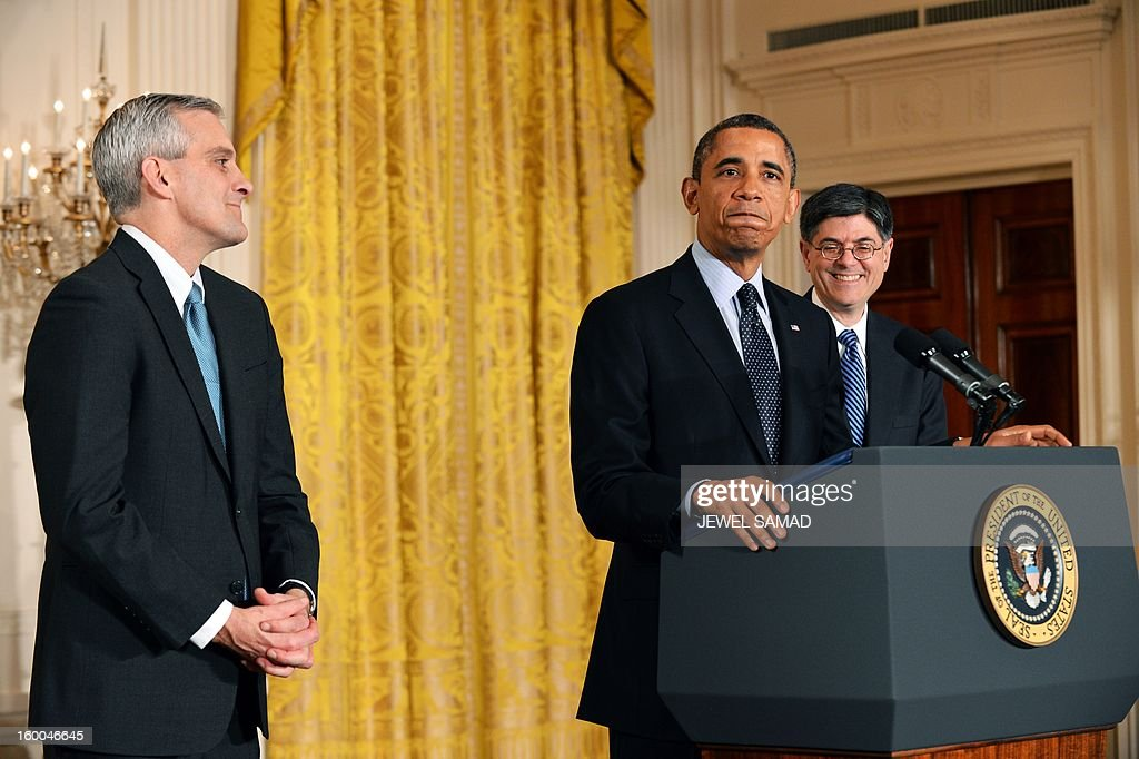 US President <a gi-track='captionPersonalityLinkClicked' href=/galleries/search?phrase=Barack+Obama&family=editorial&specificpeople=203260 ng-click='$event.stopPropagation()'>Barack Obama</a> (C) speaks to introduce Denis McDonough (L), a deputy national security advisor and member of the president's inner circle, as the new White House Chief of Staff in the East Room of the White House on January 25, 2013 in Washington. McDonough, 43, replaces Jacob Lew (R), who has been nominated to be Obama's new Treasury Secretary. AFP PHOTO/Jewel Samad