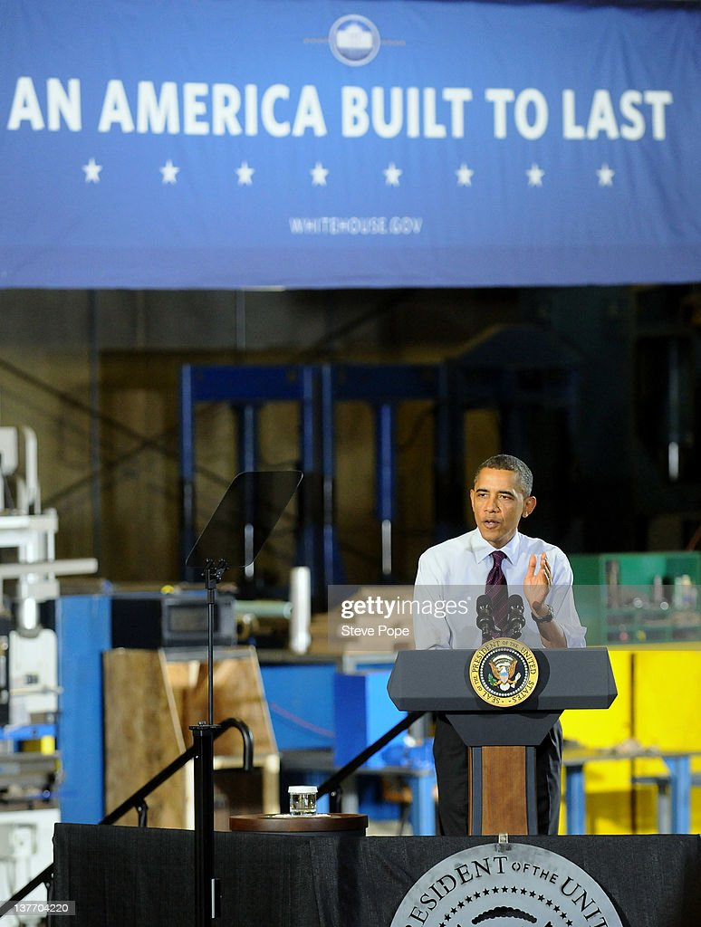 S. President Barack Obama speaks to invited guests at Conveyor Engineering & Manufacturing January 25, 2012 in Cedar Rapids, Iowa. Obama, who is on a three-day tour, spoke about manufacturing and the economy during the speech.