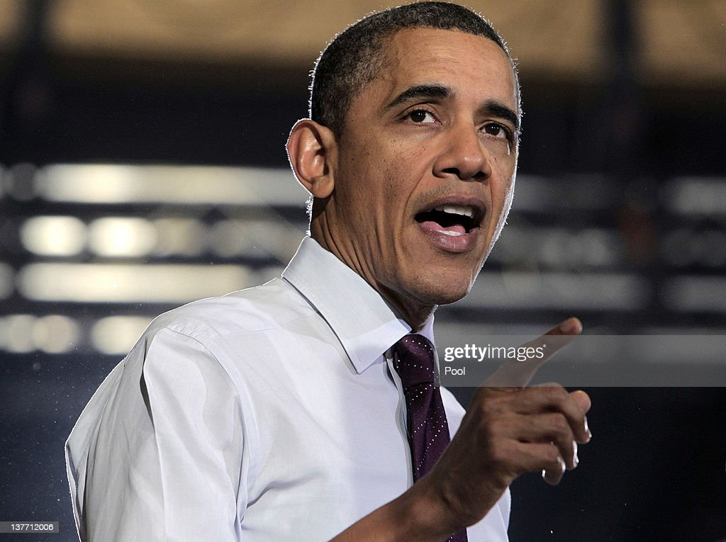 U.S. President <a gi-track='captionPersonalityLinkClicked' href=/galleries/search?phrase=Barack+Obama&family=editorial&specificpeople=203260 ng-click='$event.stopPropagation()'>Barack Obama</a> speaks to invited guests at Conveyor Engineering & Manufacturing January 25, 2012 in Cedar Rapids, Iowa. Obama, who is on a three-day tour, spoke about manufacturing and the economy during the speech.