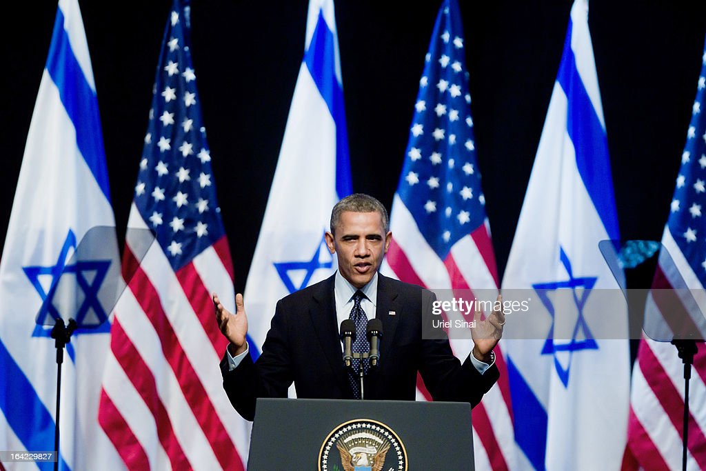 U.S. President Barack Obama speaks to Israeli students at the International Convention Center on March 21, 2013 in Jerusalem, Israel. This is Obama's first visit as president to the region and his itinerary includes meetings with the Palestinian and Israeli leaders as well as a visit to the Church of the Nativity in Bethlehem.