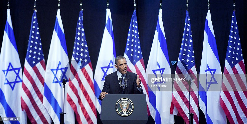 U.S. President <a gi-track='captionPersonalityLinkClicked' href=/galleries/search?phrase=Barack+Obama&family=editorial&specificpeople=203260 ng-click='$event.stopPropagation()'>Barack Obama</a> speaks to Israeli students at the International Convention Center on March 21, 2013 in Jerusalem, Israel. This is Obama's first visit as president to the region and his itinerary includes meetings with the Palestinian and Israeli leaders as well as a visit to the Church of the Nativity in Bethlehem.