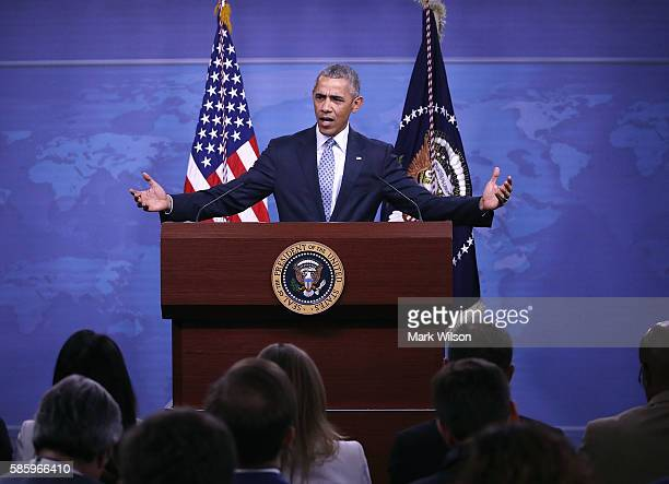 President Barack Obama speaks to media after a meeting with US Secretary of Defense Ashton Carter and members of the Joint Chiefs of Staff at the...