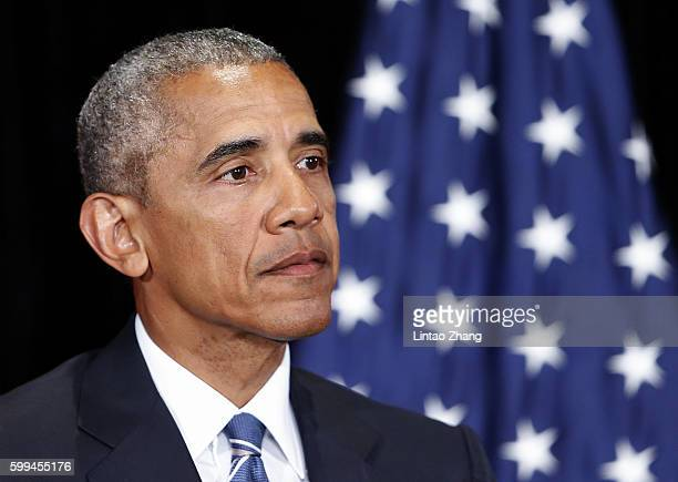 President Barack Obama speaks to media after the G20 closing at JW Marriott Hotel on September 5 2016 in Hangzhou China World leaders are gathered in...