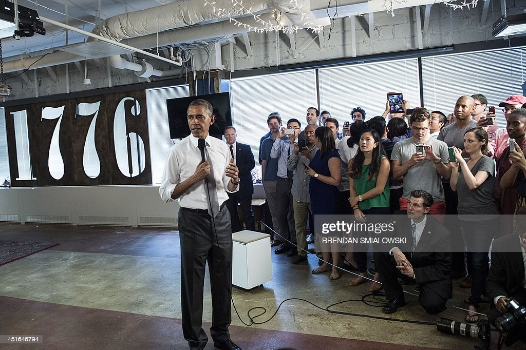 US President Barack Obama speaks to people at 1776, a tech startup hub, on July 3, 2014 in Washington, DC. Obama spoke about job growth as employers added 288,000 jobs in June, putting the unemployment rate to 6.1 percent, the lowest since September 2008, Labor Department data showed Thursday. AFP Photo/Brendan SMIALOWSKI