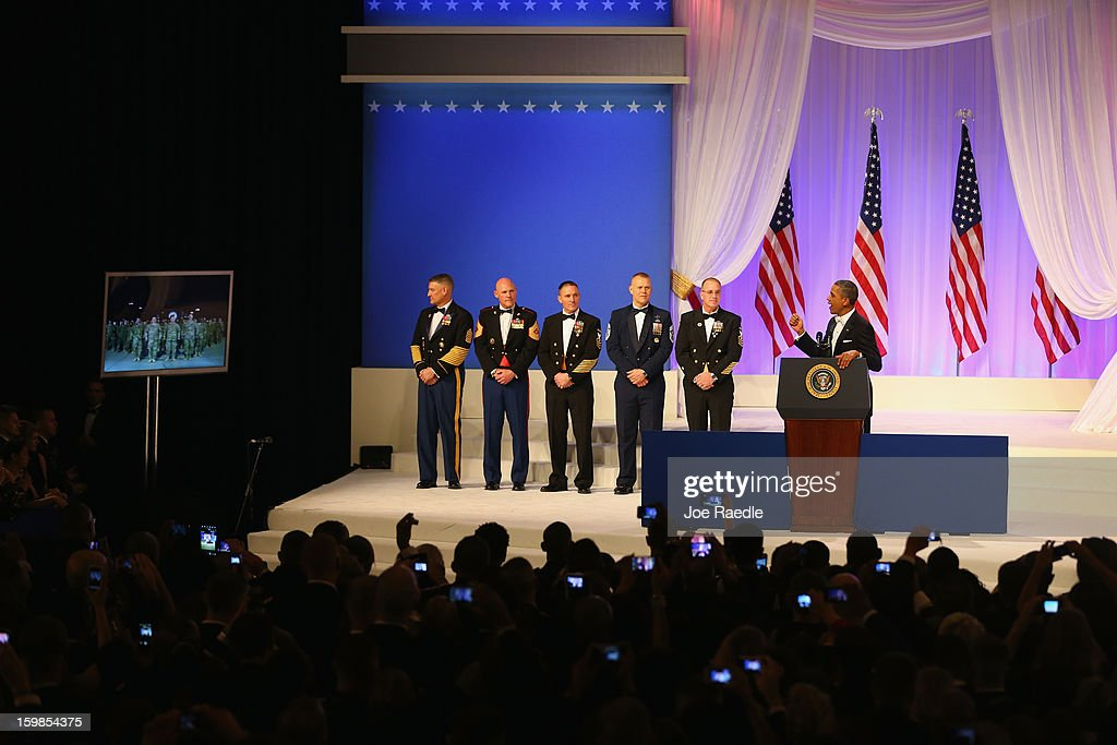 U.S. President Barack Obama speaks to soldiers in Kandahar, Afghanistan during the Commander-In-Chief's Inaugural Ball January 21, 2013 in Washington, DC. Obama was sworn in today for his second term in a public ceremonial swearing in.