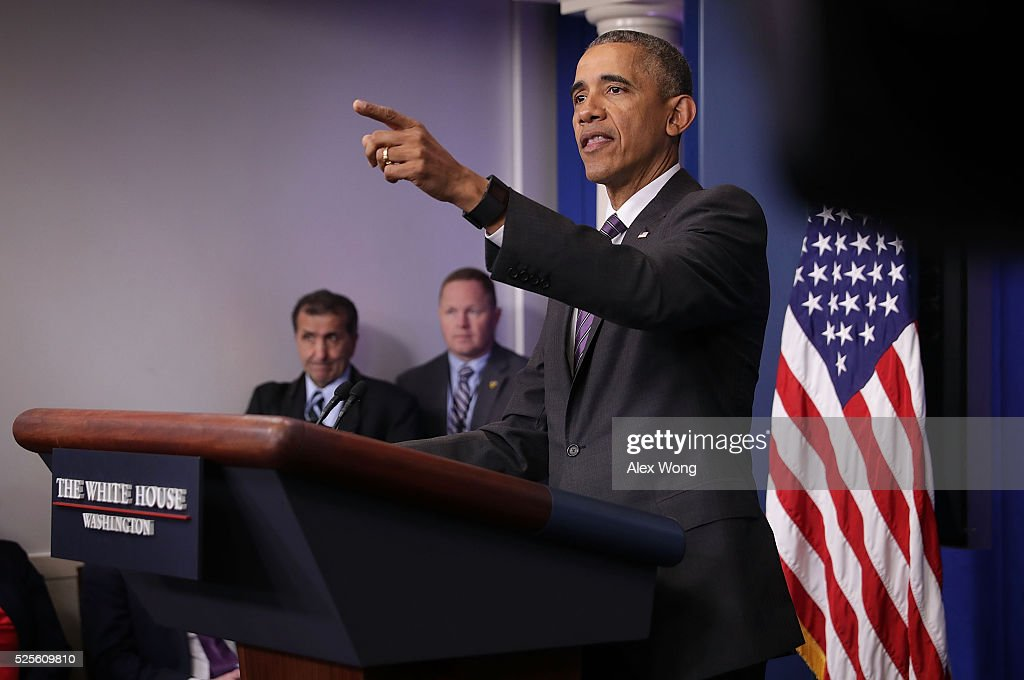 U.S. President Barack Obama speaks to student journalists at a 'daily briefing' at the James Brady Press Briefing Room of the White House April 28, 2016 in Washington, DC. College student journalists were participating in the first College Reporter Day, an opportunity to discuss issues of importance to college campuses with administration officials.