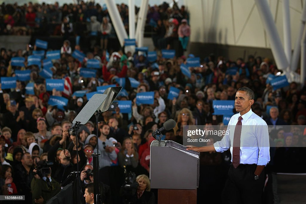 U.S. President <a gi-track='captionPersonalityLinkClicked' href=/galleries/search?phrase=Barack+Obama&family=editorial&specificpeople=203260 ng-click='$event.stopPropagation()'>Barack Obama</a> speaks to supporters during a campaign rally on September 22, 2012 in Milwaukee, Wisconsin. In addition to the rally, Obama attended two fundraising events during his visit to Milwaukee.