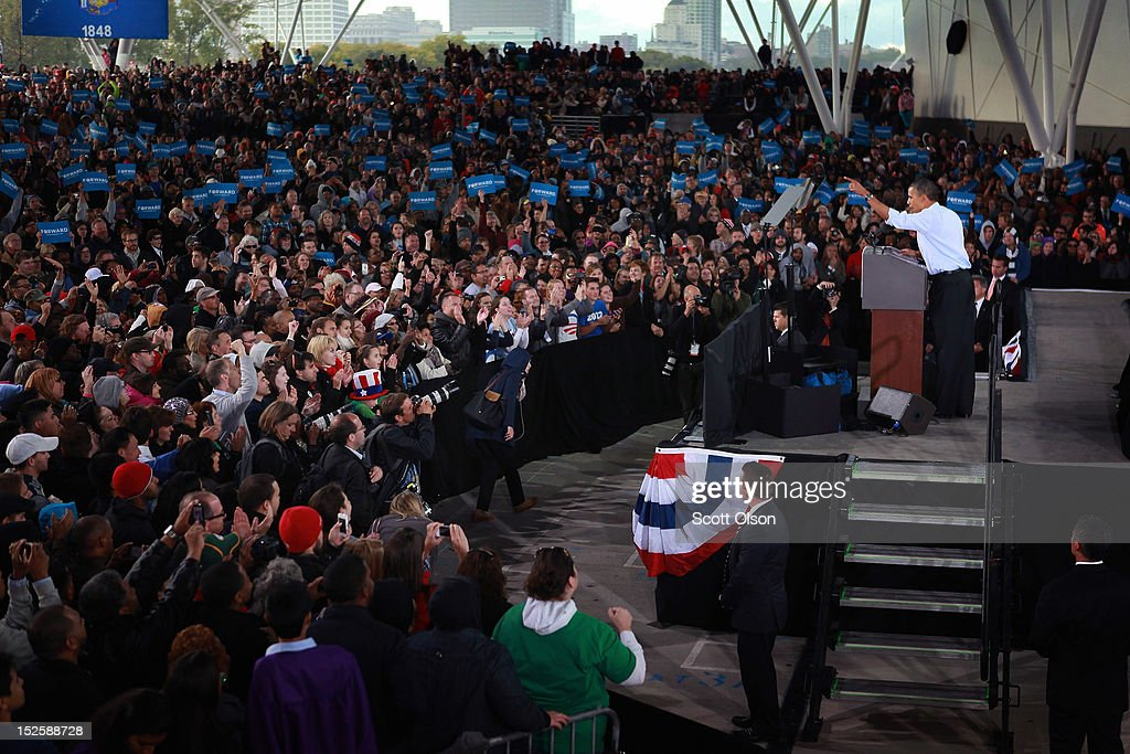 President Barack Obama speaks to supporters during a campaign rally on September 22, 2012 in Milwaukee, Wisconsin. In addition to the rally, Obama attended two fundraising events during his visit to Milwaukee.