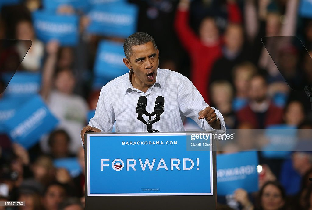 S President Barack Obama speaks to supporters during a campaign rally at the Delta Center on November 3 2012 in Milwaukee Wisconsin Wisconsin is one...