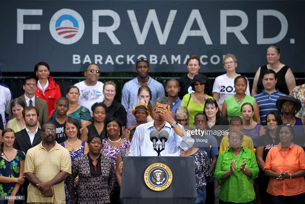 U.S. President <a gi-track='captionPersonalityLinkClicked' href=/galleries/search?phrase=Barack+Obama&family=editorial&specificpeople=203260 ng-click='$event.stopPropagation()'>Barack Obama</a> speaks to supporters during his ''A Vision for Virginia's Middle Class'' campaign event July 14, 2012 at Walkerton Tavern in Glen Allen, Virginia. On the last day of his two-day campaign across Virginia, Obama continue to discuss his plan to restore middle class security and urged the Congress to act on extending tax cuts to middle class families.