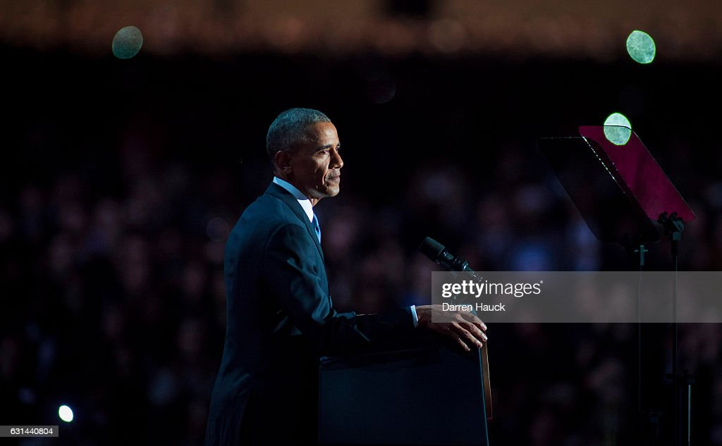U.S. President Barack Obama speaks to supporters during his farewell speech at McCormick Place on January 10, 2017 in Chicago, Illinois. Obama addressed the nation in what is expected to be his last trip outside Washington as president. President-elect Donald Trump will be sworn in as the 45th president on January 20.