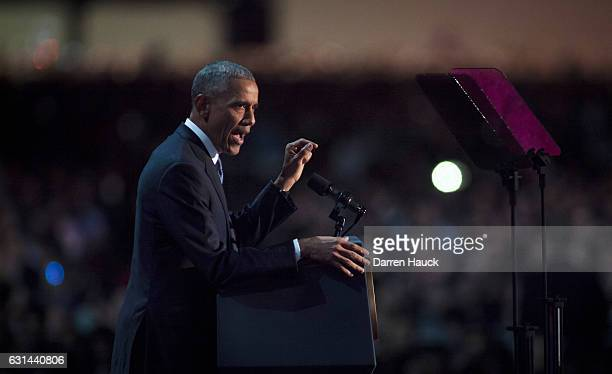 S President Barack Obama speaks to supporters during his farewell speech at McCormick Place on January 10 2017 in Chicago Illinois Obama addressed...
