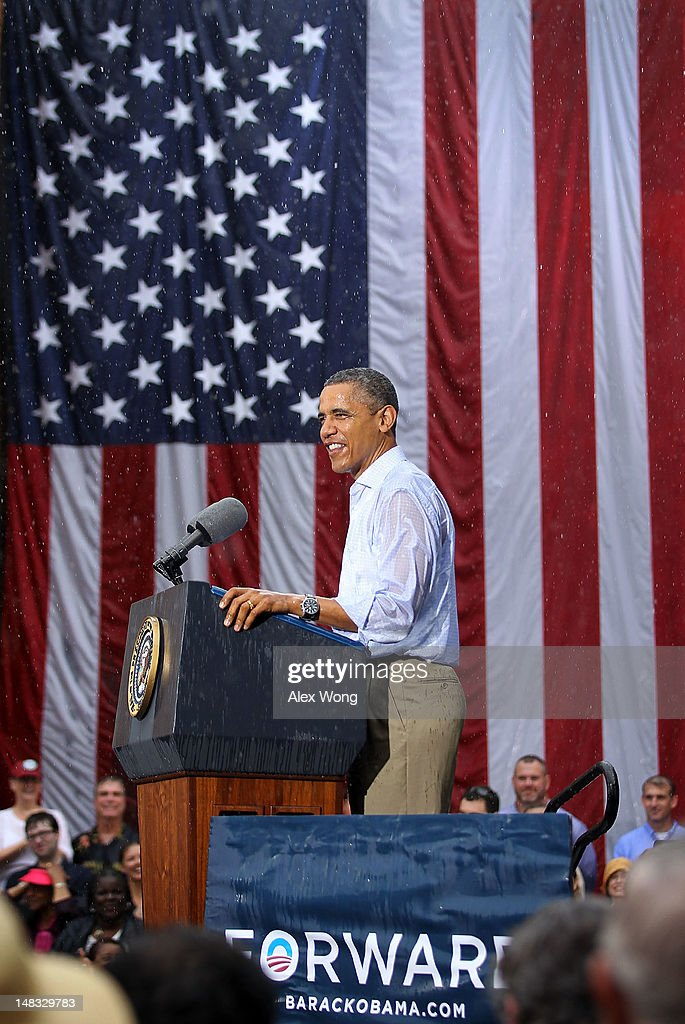 U.S. President <a gi-track='captionPersonalityLinkClicked' href=/galleries/search?phrase=Barack+Obama&family=editorial&specificpeople=203260 ng-click='$event.stopPropagation()'>Barack Obama</a> speaks to supporters in the rain during his ''A Vision for Virginia's Middle Class'' campaign event July 14, 2012 at Walkerton Tavern in Glen Allen, Virginia. On the last day of his two-day campaign across Virginia, Obama continue to discuss his plan to restore middle class security and urged the Congress to act on extending tax cuts to middle class families.
