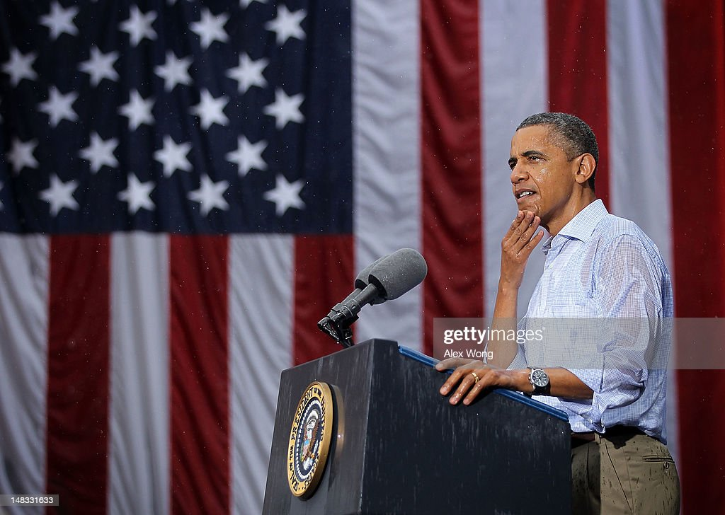 U.S. President <a gi-track='captionPersonalityLinkClicked' href=/galleries/search?phrase=Barack+Obama&family=editorial&specificpeople=203260 ng-click='$event.stopPropagation()'>Barack Obama</a> speaks to supporters in the rain during his ''A Vision for Virginia's Middle Class'' campaign event July 14, 2012 at Walkerton Tavern in Glen Allen, Virginia. On the last day of his two-day campaign across Virginia, Obama continue to discuss his plan to restore middle class security and urged Congress to act on extending tax cuts to middle class families.