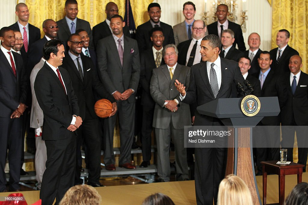 President Barack Obama speaks to the crowd during a visit by the Miami Heat to the White House to commemorate the 2012 NBA Champions on January 28, 2013 in Washington, DC.