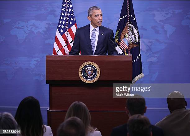 President Barack Obama speaks to the media after a meeting with US Secretary of Defense Ashton Carter and members of the Joint Chiefs of Staff at the...
