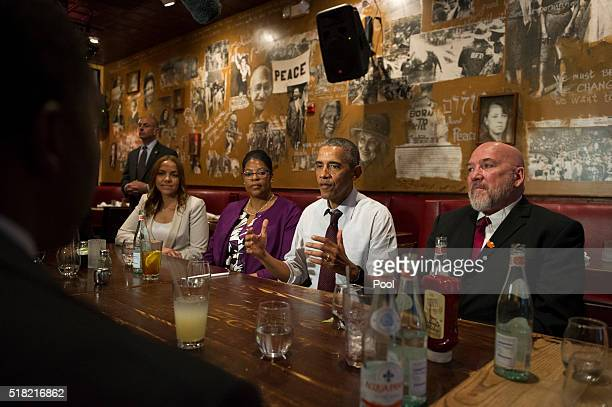 S President Barack Obama speaks to the media after having lunch with formerly incarcerated individuals who have received commutations at Bus Boys and...