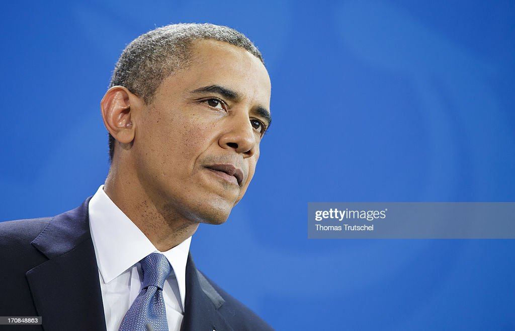 US President <a gi-track='captionPersonalityLinkClicked' href=/galleries/search?phrase=Barack+Obama&family=editorial&specificpeople=203260 ng-click='$event.stopPropagation()'>Barack Obama</a> speaks to the media after his meeting with German Chancellor Angela Merkel (not pictured) at the Chancellery on June 19, 2013 in Berlin, Germany. Obama is set to speak on the east side of the Brandenburg Gate, 50 years after John F. Kennedy famously declared his solidarity with the citizens of Berlin.