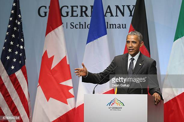 S President Barack Obama speaks to the media at the conclusion of the summit of G7 nations at Schloss Elmau on June 8 2015 near GarmischPartenkirchen...