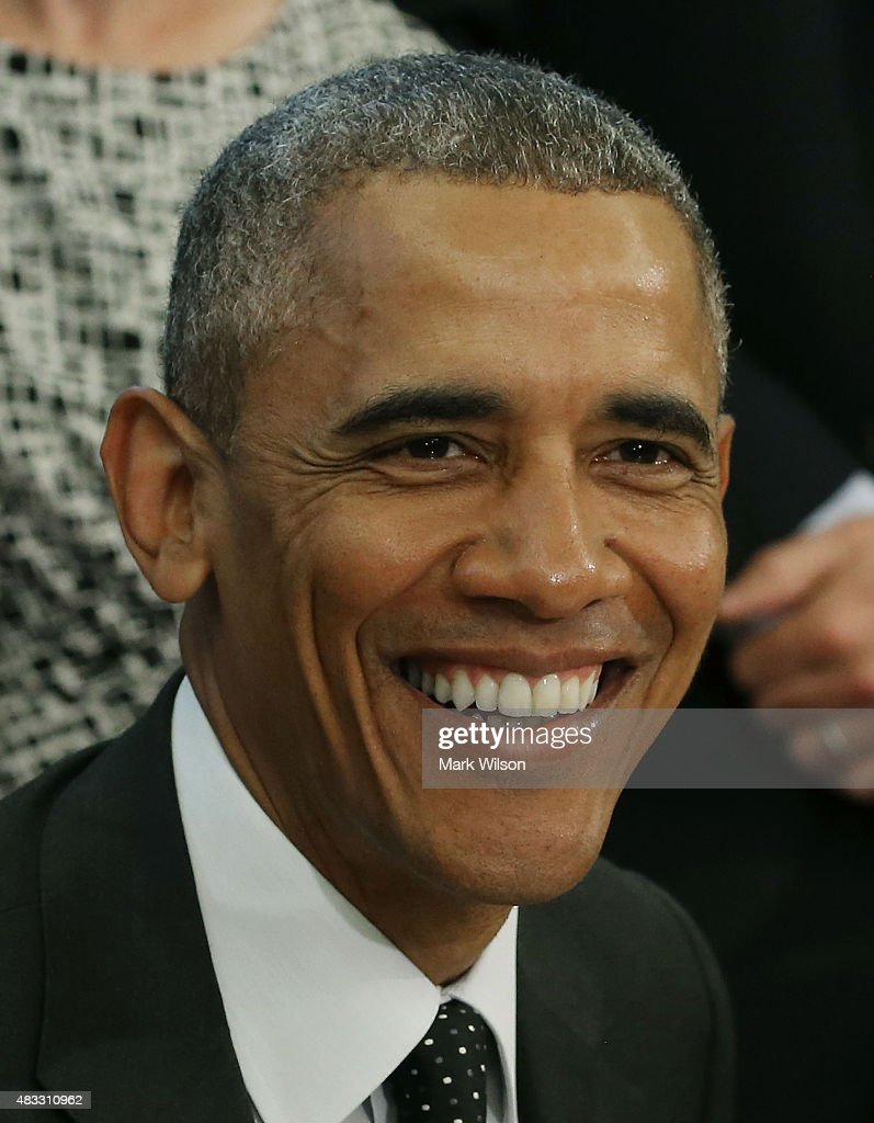 US President <a gi-track='captionPersonalityLinkClicked' href=/galleries/search?phrase=Barack+Obama&family=editorial&specificpeople=203260 ng-click='$event.stopPropagation()'>Barack Obama</a> speaks to the media before signing the H.R. 1138 Sawtooth National Recreation Area and Jerry Peak Wilderness Additions Act. in the Oval Office at the White House, August 7, 2015 in Washington, DC. Later today President Obama and his family will be departing for a two week vacation on Martha's Vineyard in Massachusetts.