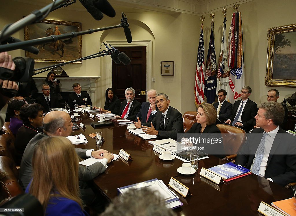 US President <a gi-track='captionPersonalityLinkClicked' href=/galleries/search?phrase=Barack+Obama&family=editorial&specificpeople=203260 ng-click='$event.stopPropagation()'>Barack Obama</a> speaks to the media during a meeting with members of his national security team and cybersecurity advisors in the Roosevelt Room at the White House February 9, 2016 in Washington, DC.