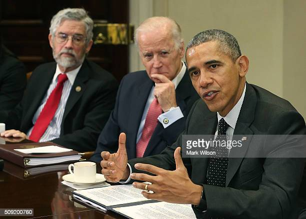 President Barack Obama speaks to the media during a meeting with members of his national security team and cybersecurity advisors in the Roosevelt...
