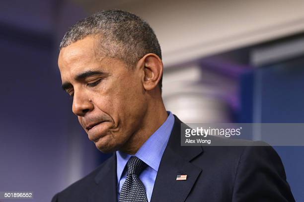 S President Barack Obama speaks to the media during his year end news conference in the Brady Briefing Room at the White House December 18 2015 in...