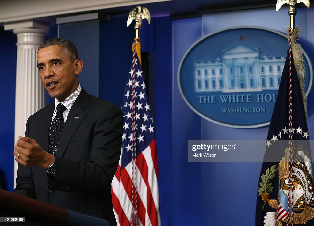 U.S. President <a gi-track='captionPersonalityLinkClicked' href=/galleries/search?phrase=Barack+Obama&family=editorial&specificpeople=203260 ng-click='$event.stopPropagation()'>Barack Obama</a> speaks to the media in the Brady Briefing Room at the White House on November 21, 2013 in Washington, DC. President Obama said that he supports the Senate Democrats' decision to change filibuster rules to make it easier for approval of judicial appointments.