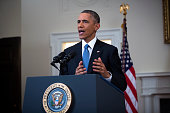 S President Barack Obama speaks to the nation about normalizing diplomatic relations the Cuba in the Cabinet Room of the White House on December 17...