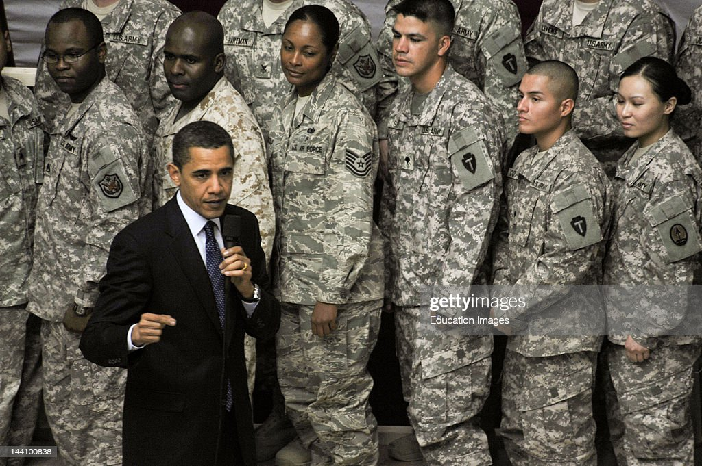 US President Barack Obama Speaks To US Soldiers Sailors Airmen Marines And Civilians Assigned To MultiNational Corps Iraq At The Faw Palace At Camp...