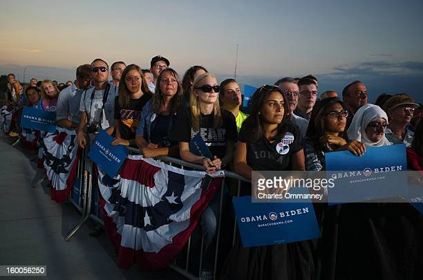 S President Barack Obama speaks to voters during a campaign stop at the Waterloo Center for the Arts August 14 2012 in Waterloo Iowa The stop was...