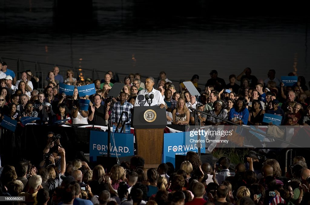 U.S. President Barack Obama speaks to voters during a campaign stop at the Waterloo Center for the Arts August 14, 2012 in Waterloo, Iowa. The stop was part of a three-day, nine-city campaign trip across Iowa.