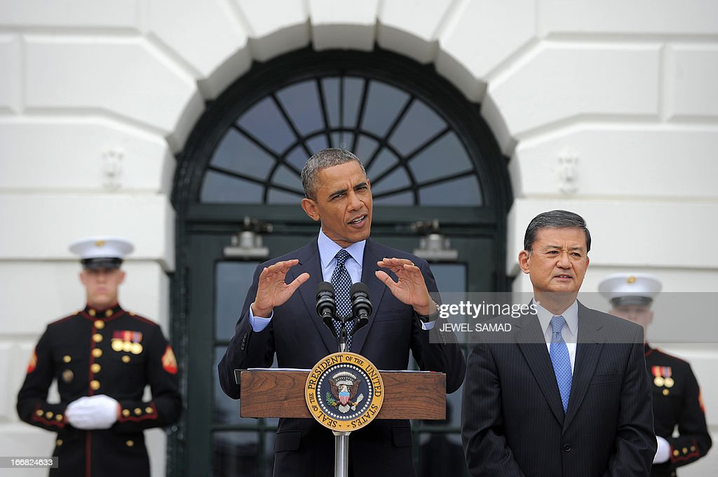 US President <a gi-track='captionPersonalityLinkClicked' href=/galleries/search?phrase=Barack+Obama&family=editorial&specificpeople=203260 ng-click='$event.stopPropagation()'>Barack Obama</a> speaks to welcome Wounded Warrior Project's Soldier Ride at the White House as Veterans Affairs Secretary Eric Shinseki (R) looks during a ceremony in Washington, DC, on April 17, 2013. The Soldier Ride is a four-day cycling event for wounded veterans to overcome physical, mental, or emotional wounds. AFP PHOTO/Jewel Samad