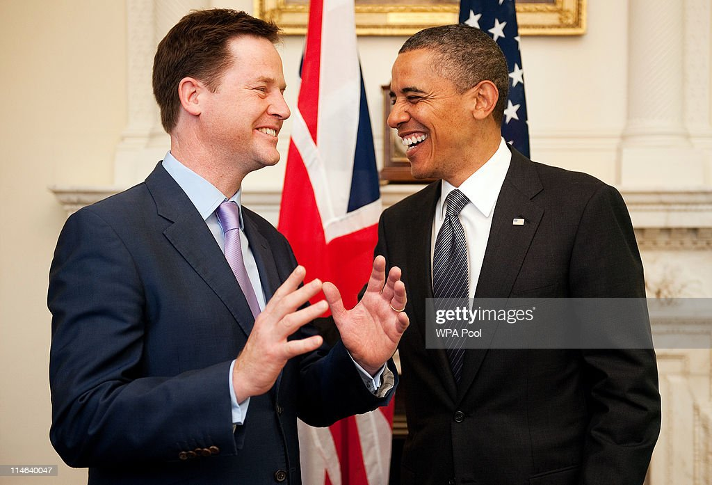 US President Barack Obama (R) speaks with British Deputy Prime Minister Nick Clegg at 10 Downing Street on May 25, 2011 in London, England. The 44th President of the United States, Barack Obama, and his wife Michelle are in the UK for a two day State Visit at the invitation of HM Queen Elizabeth II. Last night they attended a state banquet at Buckingham Palace and today's events include talks at Downing Street and the President will address both houses of parliament at Westminster Hall.