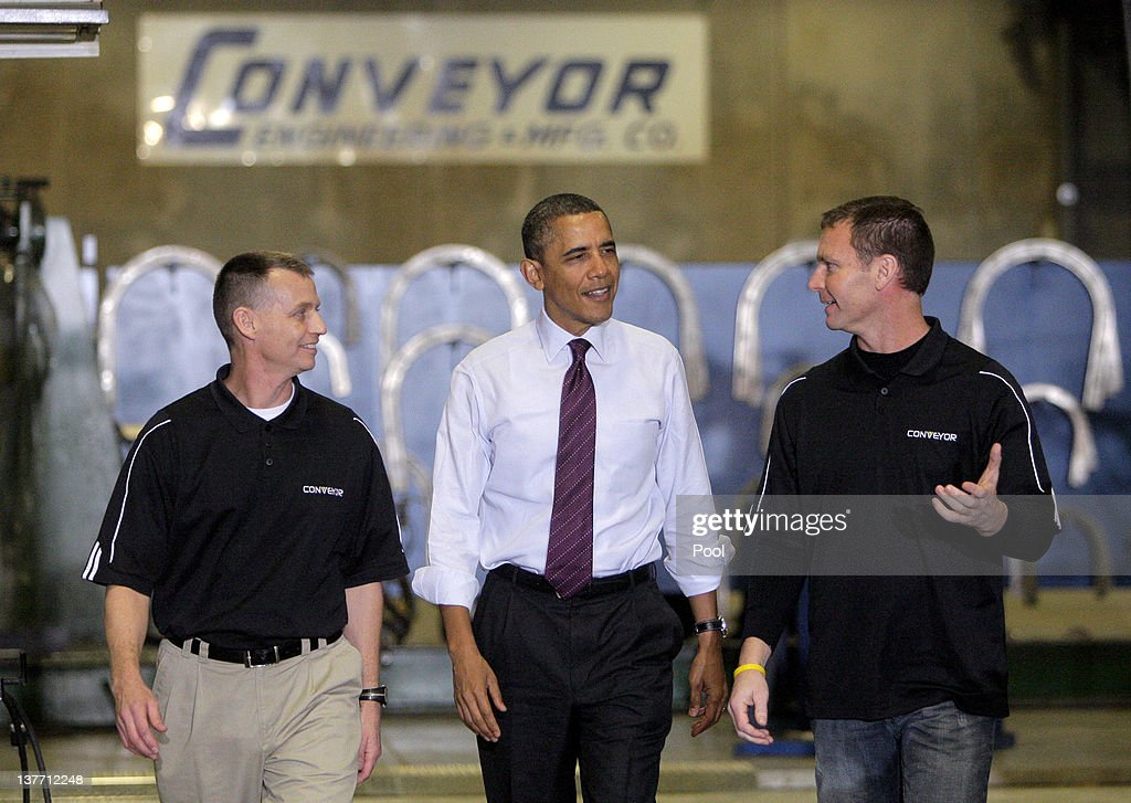 U.S. President <a gi-track='captionPersonalityLinkClicked' href=/galleries/search?phrase=Barack+Obama&family=editorial&specificpeople=203260 ng-click='$event.stopPropagation()'>Barack Obama</a> speaks with Conveyor Engineering & Manufacturing president Graig Cone (right) and operations manager Jeff Baxter at Conveyor Engineering & Manufacturing January 25, 2012 in Cedar Rapids, Iowa. Obama, who is on a three-day tour, spoke about manufacturing and the economy during the speech.