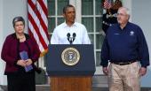 S President Barack Obama speaks with Homeland Security Secretary Janet Napolitano and FEMA Administrator Craig Fugate on the aftermath of Hurricane...