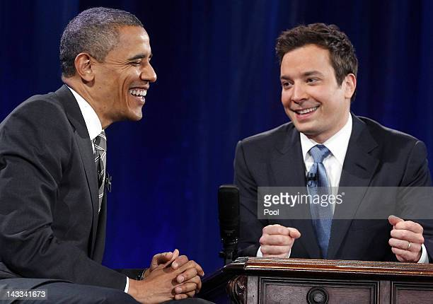 S President Barack Obama speaks with host Jimmy Fallon during an appearance on Late Night with Jimmy Fallon at Memorial Hall on the UNC campus on...