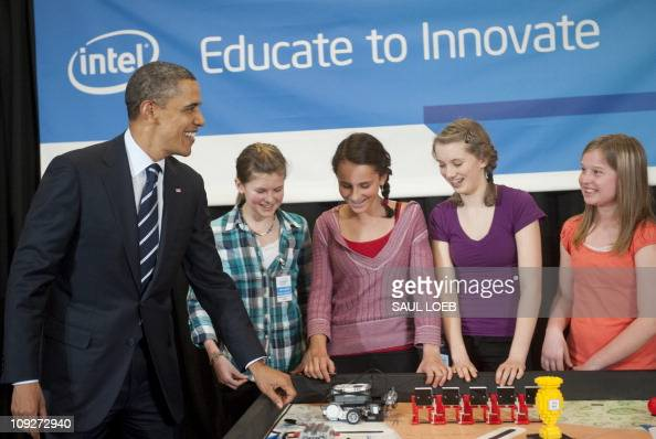 US President Barack Obama speaks with Intel Science Talent Search finalists 7th graders from the BindleBot Intel First LEGO Robotics Team from Robert...