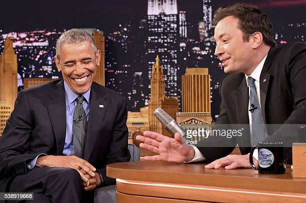 President Barack Obama speaks with Jimmy Fallon on the set of the 'The Tonight Show Starring Jimmy Fallon' on June 8 2016 in New York City President...