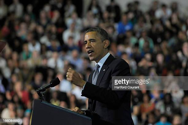 President Barack Obama spoke at University of Hartford on Monday April 8 in West Hartford Connecticut On the eve of the gun control debate in...