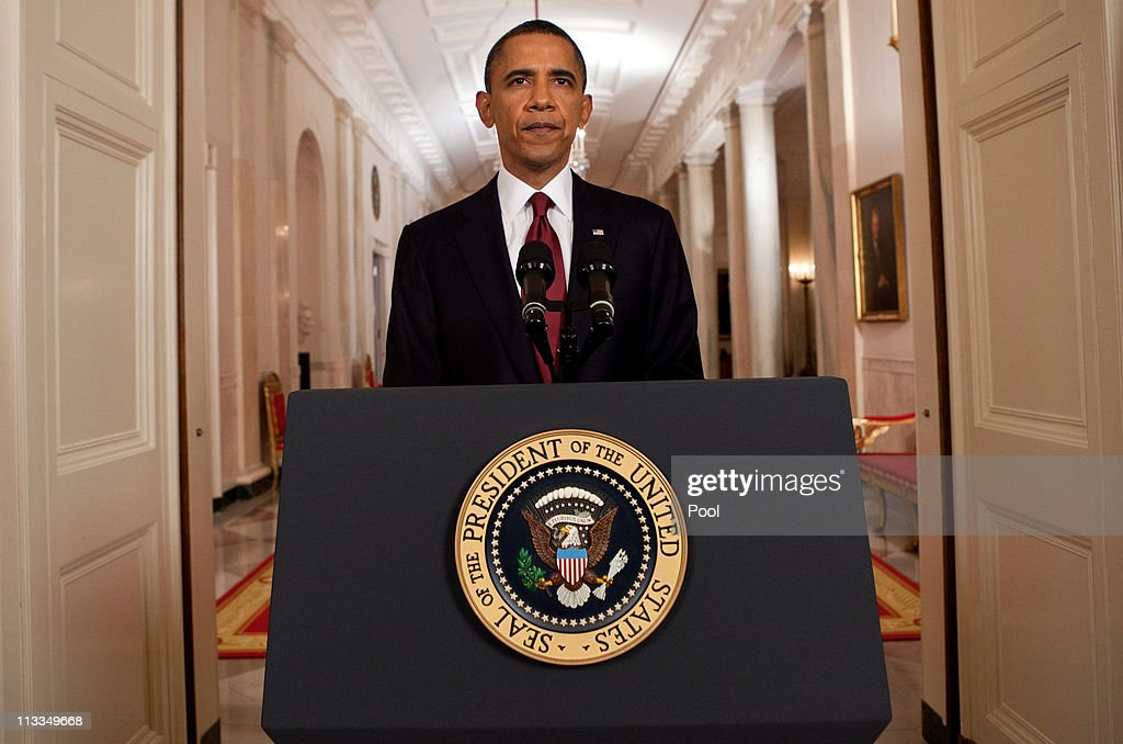 U.S. President Barack Obama stands after addressing the nation on TV from the East Room of the White House to make a televised statement May 1, 2011 in Washington, DC. Bin Laden has been killed near Islamabad, Pakistan almost a decade after the terrorist attacks of Sept. 11, 2001 and his body is in possession of the United States.