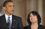 US President Barack Obama stands alongside his nominee for Supreme Court Justice Appeals Court Judge Sonia Sotomayor in the East Room of the White...